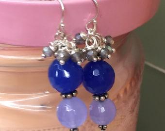 Chalcedony and Mystic Labradorite Dangles  Deep Blue/Light Blue Earrings  Ocean blue   Cruise Wear  Labradorite Clusters   Sundance style