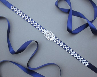 Swarovski crystal belt sash, Bridal belt sash, Navy blue Swarovki belt sash, Beaded Crystal Rhinestone Sash, Bridal belt sash, More colors