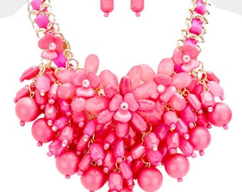 ASSORTED COLORS - Flower Detail Bead Cluster Vine Statement Bib Necklace