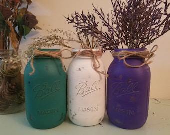 Distressed Purple, teal, and White Mason Jar, Painted Mason Jar, Wedding, Baby Shower