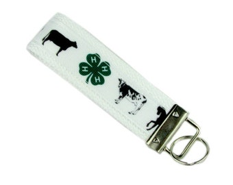 Key Chain / Key Fob Made with 4H Ribbon; Farming Animals With Optional Initials
