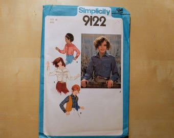Vintage Simplicity 9122 Girls Shirt and Reversible Vest Sewing Pattern, 1970s Girls Sewing Pattern DIY, Size 10