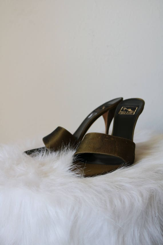 Bronze Stilettos | 6.5 38.5 EU open toe foot strap minimal olive slip on high heels pumps womens shoes 6 italian leather sole