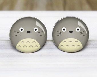 Totoro Earrings - Anime Studio Ghibli Silver Studs - Hypoallergenic Nickel Free Earrings