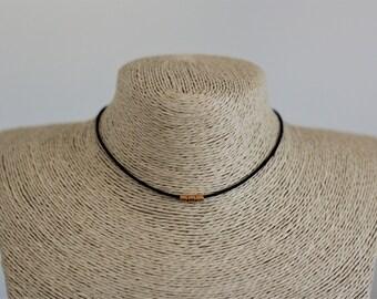 Black Cord Choker w/ gold beads/ Simple black choker/ Skinny choker/ Wire choker