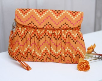 Tangerine Orange in multicolor chevron dots