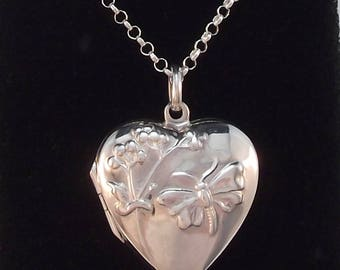 Silver Heart Shaped Locket with Butterfly and Flower Pattern on Silver Chain
