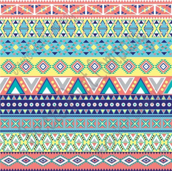 Aztec Tribal Pattern Heat Transfer Vinyl Coral Aqua Gray
