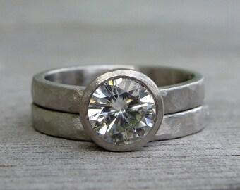 Moissanite Palladium Rings - Forever One G-H-I Moissanite - Alternative Engagement Ring and Wedding Band, Hammered, Matte, Made to Order
