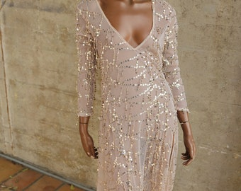 1990s Nude Rose Gold Party Dress Evening Gown Women's Sequin 90s Britney Spears Beauty Disco Cocktail Dress See Through Outerwear Mesh