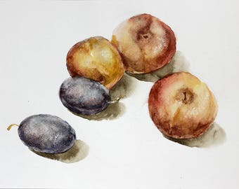 Plums and Peaches Fruit watercolor, Peaches Watercolor painting, Original watercolor art, Plums watercolor art Fruit Art Kitchen foodie gift