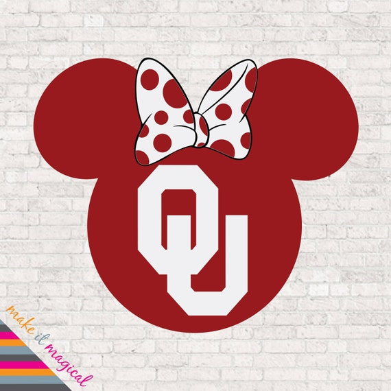 Oklahoma Sooners Mickey Mouse Head Digital Download University Of