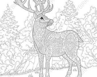 deer reindeer coloring pages animal coloring book pages for adults instant download - Coloring Pages Of Deer 2