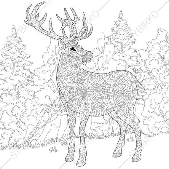 Deer. Reindeer. Coloring Pages. Animal coloring book pages for
