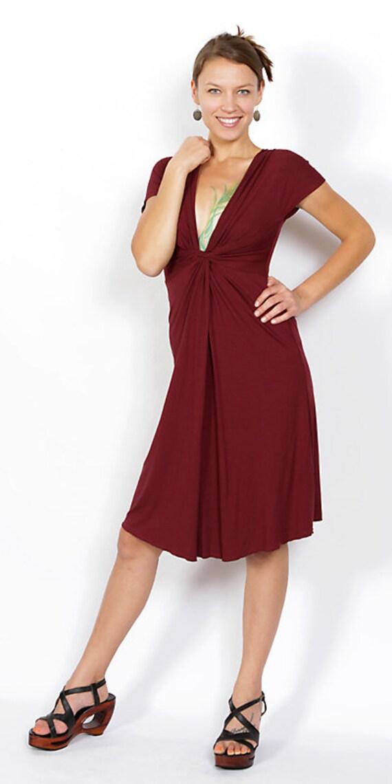 Spring Sale! Burgundy Red Knot Front V-Neck Dress