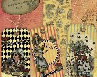 Instant Download Alice in Wonderland Printable Gift Tags Digital Scrapbooking Set 2
