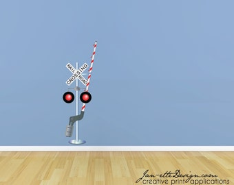 Railroad Crossing Sign Fabric Wall Decal