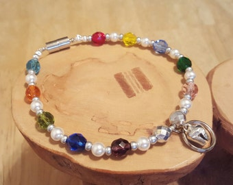 Confetti Colorful Crystal and Pearl handcrafted multicolor Cat Collar with bell and tag ring