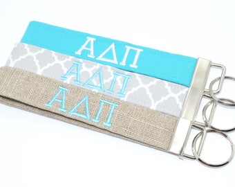 Officially Licensed Alpha Delta Pi Sorority Keychain Key Chain Fob Wristlet Greek Life Personalized Embroidered