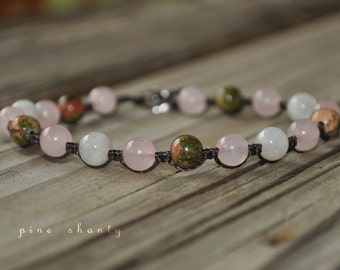 Moonstone, Unakite, Rose Quartz Yoga Bracelet, Hand Knotted, Nylon Cord, Minimalist Jewelry, Meditation Bracelet, Childbirth Bracelet