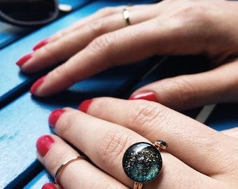 Galaxy ring , night sky ring , gold fill ring , nebula ring , starry night ring