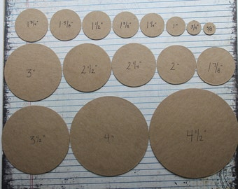 "50 cardboard circles die cuts blank chipboard/cardboard [choose from 3/4"" to 9""]"