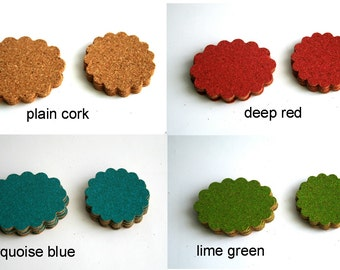 Cork Oval & Circle Flowers, Plain, Red, Green, Blue -hand punched- Pkg of 12 Wedding Decor, Scrapbooking