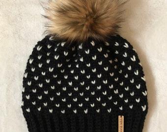 Crochet Fair Isle Beanie with Faux Fur Pom Pom   Child Size   Ready to Ship