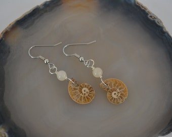 Petite Ammonite Earrings with Lemon Jade and Sterling Silver