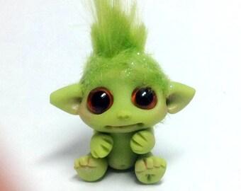 "OOAK Tiny Baby Green Goblin Trollfling Troll Mini doll ""Oskar"" by Amber Matthies"