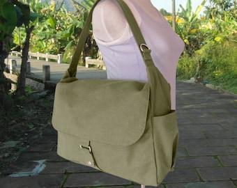 Olive canvas messenger shoulder bag, mens custom canvas bag, messenger bag women crossbody bag diaper bag laptop bag go back to school bag
