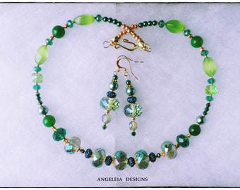 Exquisite Green Crystal Choker Necklace and Earring Set, Green Jewelry Set, Bridal Jewelry, Prom Jewelry, Anniversary Gift, Mothers Day Gift