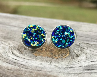 Blue earrings, faux druzy earrings, blue green earrings, sparkly earrings, bridal jewelry, bohemian jewelry