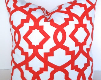 Sale ORANGE PILLOWS RED Pillow Covers Orange Throw Pillows Red Coral Pillow Covers 16 18x18 20.All Sizes. Geometric Clearance Home Decor