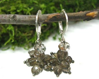 Birthday gift|for|sister smoky quartz earrings crystal gemstone jewelry cluster earrings dangle earrings Capricorn Birthstone horoscope gift