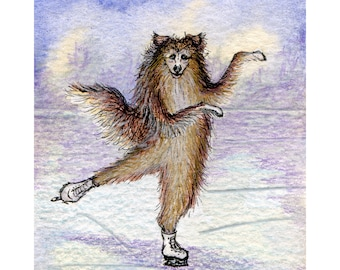 Sheltie dog 8x10 art print from a watercolor painting by Susan Alison ice skating gliding