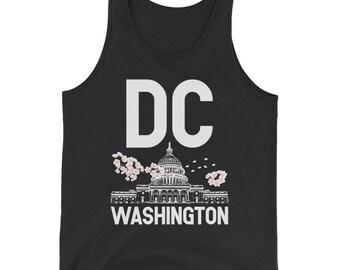 Washington dc cherry blossom top tank, washington dc, washington dc tee, washington dc tank, washington dc flag, dc tank top, washington