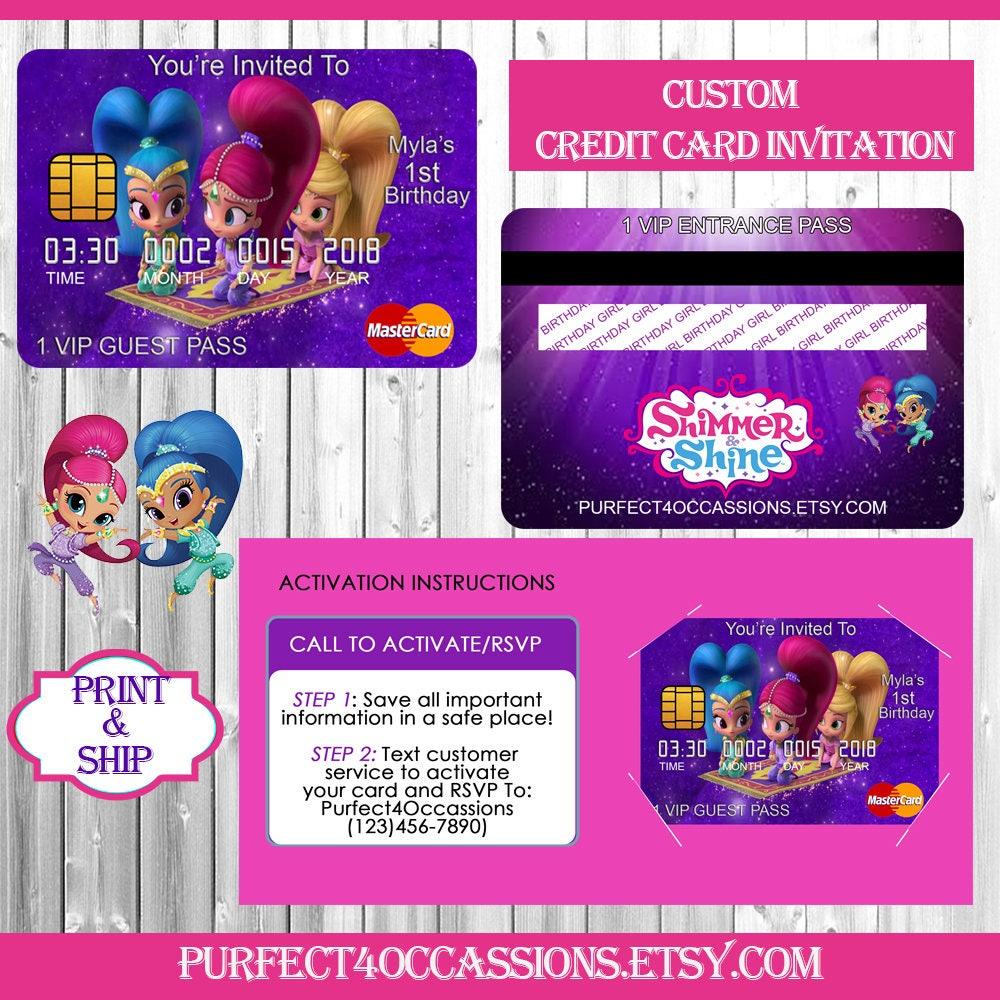 Shimmer and Shine Birthday Credit Card Invitation/Credit Card