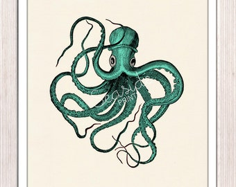 Vintage octopus n2- sea foam color - Octopus wall art Print , sea life print SAS176