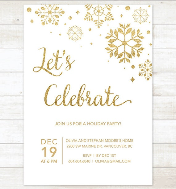 Gold Holiday Party Invitation Printable Snowflakes White Gold