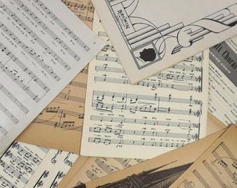 100 Vintage Sheet Music Pages, Scrapbooking & Collage Craft Supply, Paper Ephemera