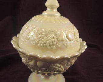 Westmoreland Iridescent Mother of Pearl Milk Glass Covered Candy Dish Fruit Pattern