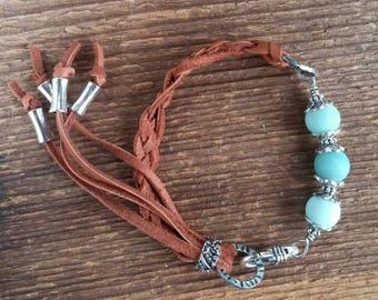 Amazonite Bracelet, Wrap Bracelet, Leather Bracelet, Blue Bracelet, Chunky Bracelet, Bohemian Jewelry, Boho Jewelry, Braided Leather