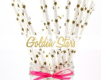 GOLD STARS Paper Straws - Party Paper Straws - Wedding - Birthday Decorations