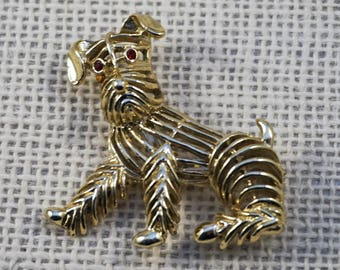 Gerry's Gold Tone and Red Rhinestone Dog Doggie Puppy Mutt Terrier Spaniel Brooch Pin Figural