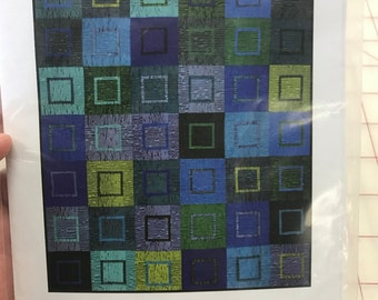 """Quilt pattern """"Berkeley Blue"""" by Amy Walsh - finished size 54"""" x 63"""""""