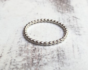 Beaded sterling silver stacking ring. Size 7