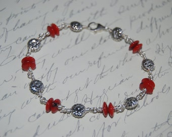 Natural Red Coral  Wire Wrap Bracelet