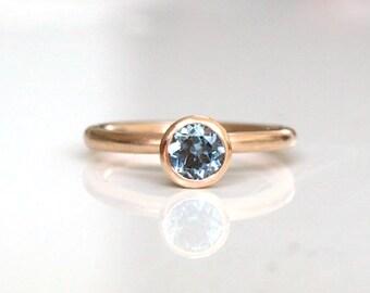 Rose gold aquamarine solitaire, rose gold aquamarine engagement ring