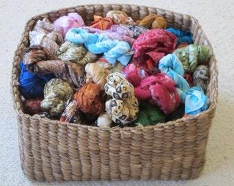 SALE Grab bag of 10 Silk Scarfs, Silk Fabrics